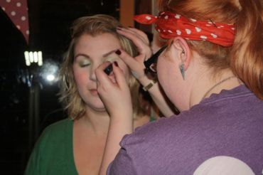 Lucy transforming Cat's make up