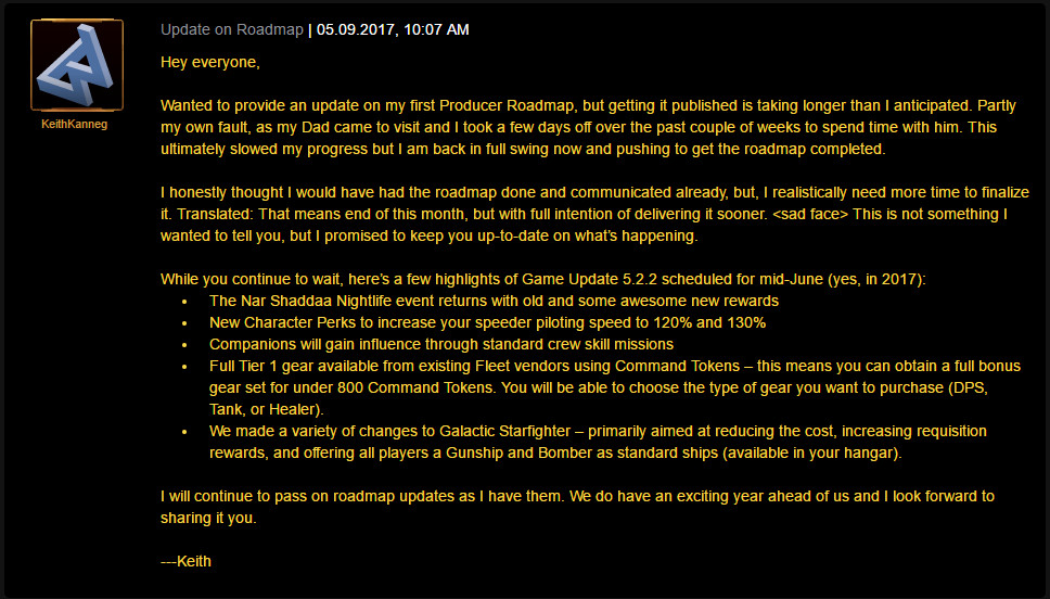 SWTOR 5 2 2 and Roadmap Updates – State Of The Old Republic