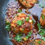 Asian Pork Meatballs With Ginger Honey Sauce