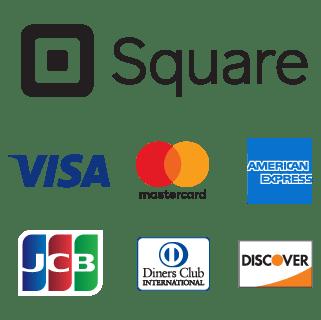 スクウェア・インクとスクウェア株式会社 Visa、MasterCard、American Express、JCB、Diners Club、 Discover