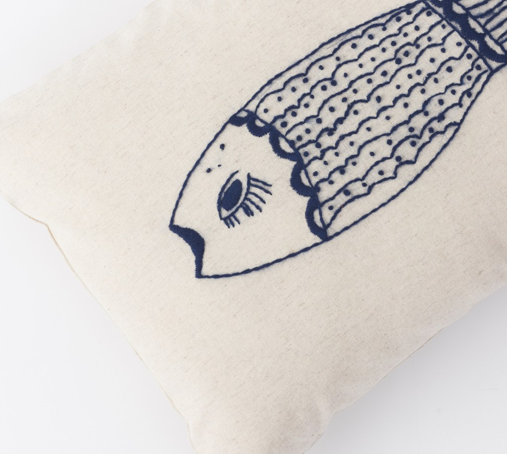 Tilli Tanit hand-embroidered fish pillow