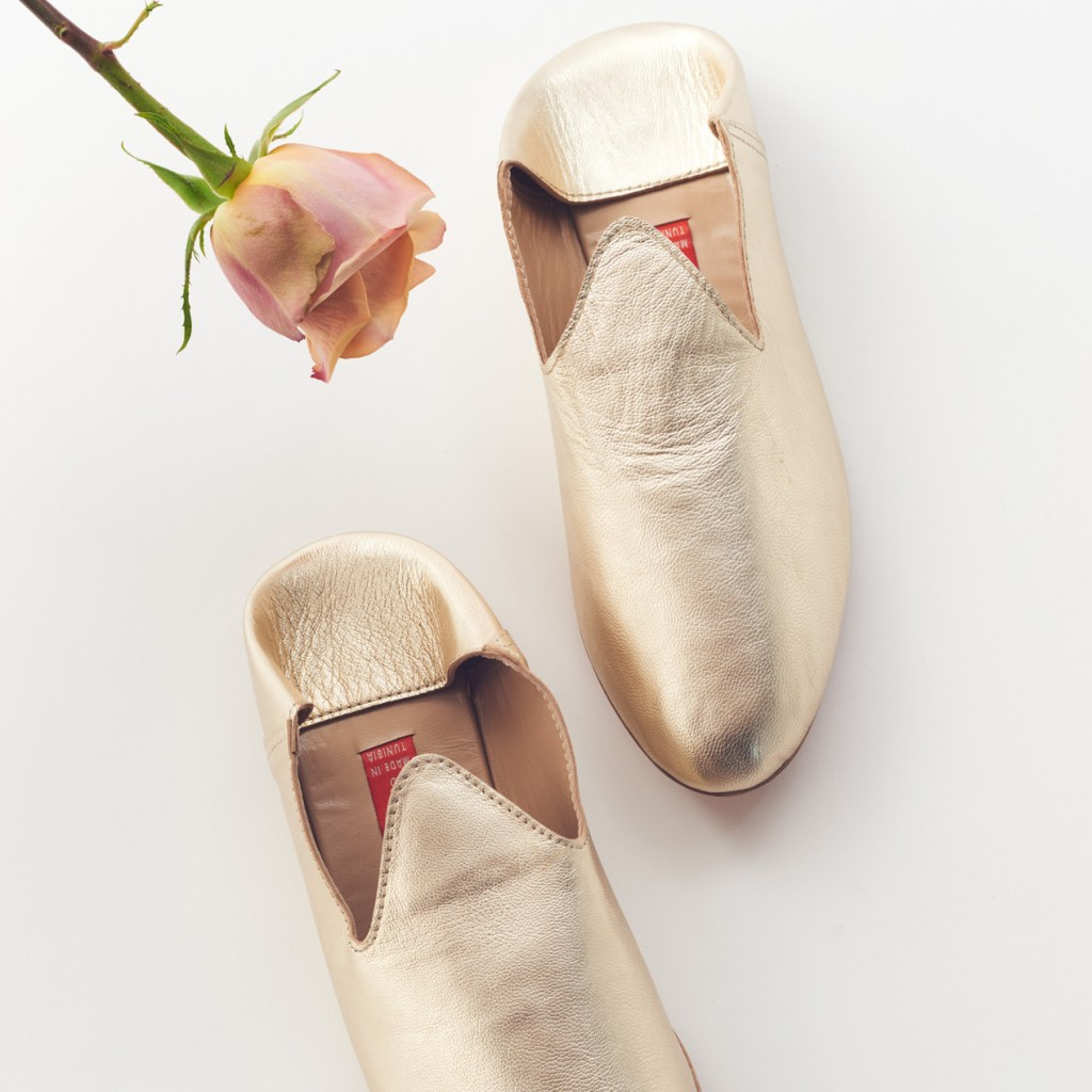 gold leather babouches slipper shoes