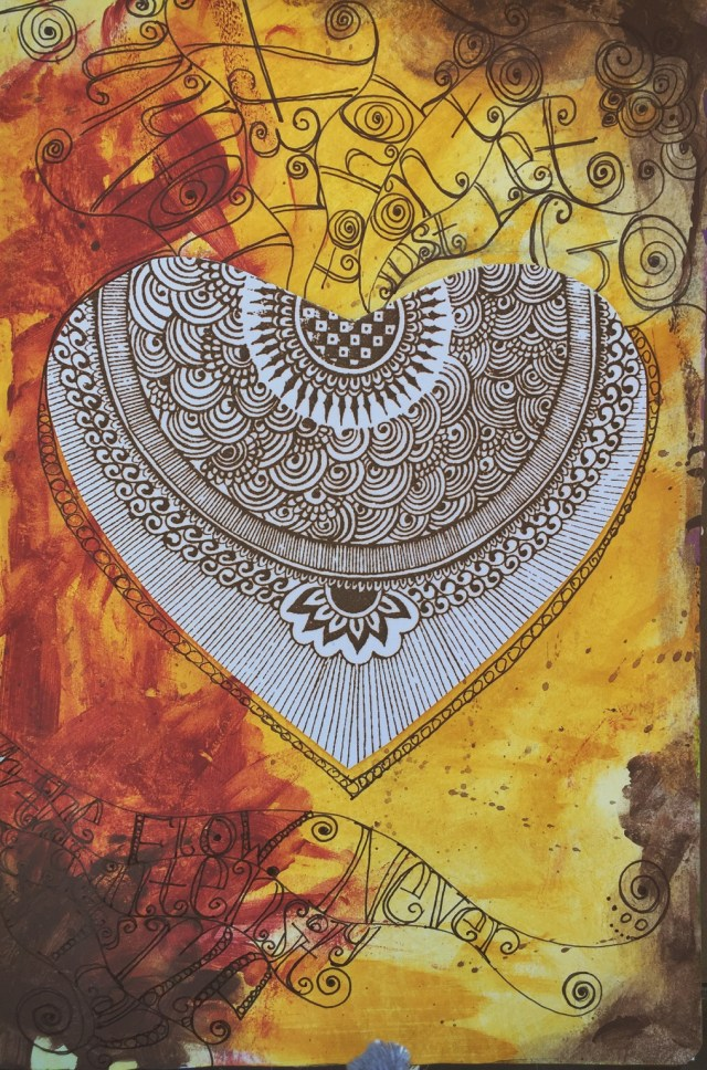 Flaming Heart - Mixed Media Soul Journal Page