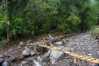 on the bamboo bridge to the jungel