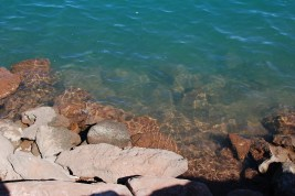 Red rock and blue water