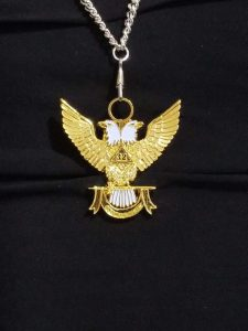"""32nd-Degree-Double-Headed-Eagle-Medallion-""""Wings-Up""""-silver- chain"""