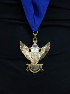 """33rd-Degree-Double-Headed-Eagle-Medallion-""""Wings-Up""""-blue-ribbon"""