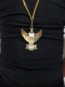 """33rd-Degree-Double-Headed-Eagle-Medallion-""""Wings-Up""""-gold-chain"""
