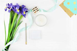 Styled stock photography, desktop, White desktop woman, table view, mockup, flowers irises, gold