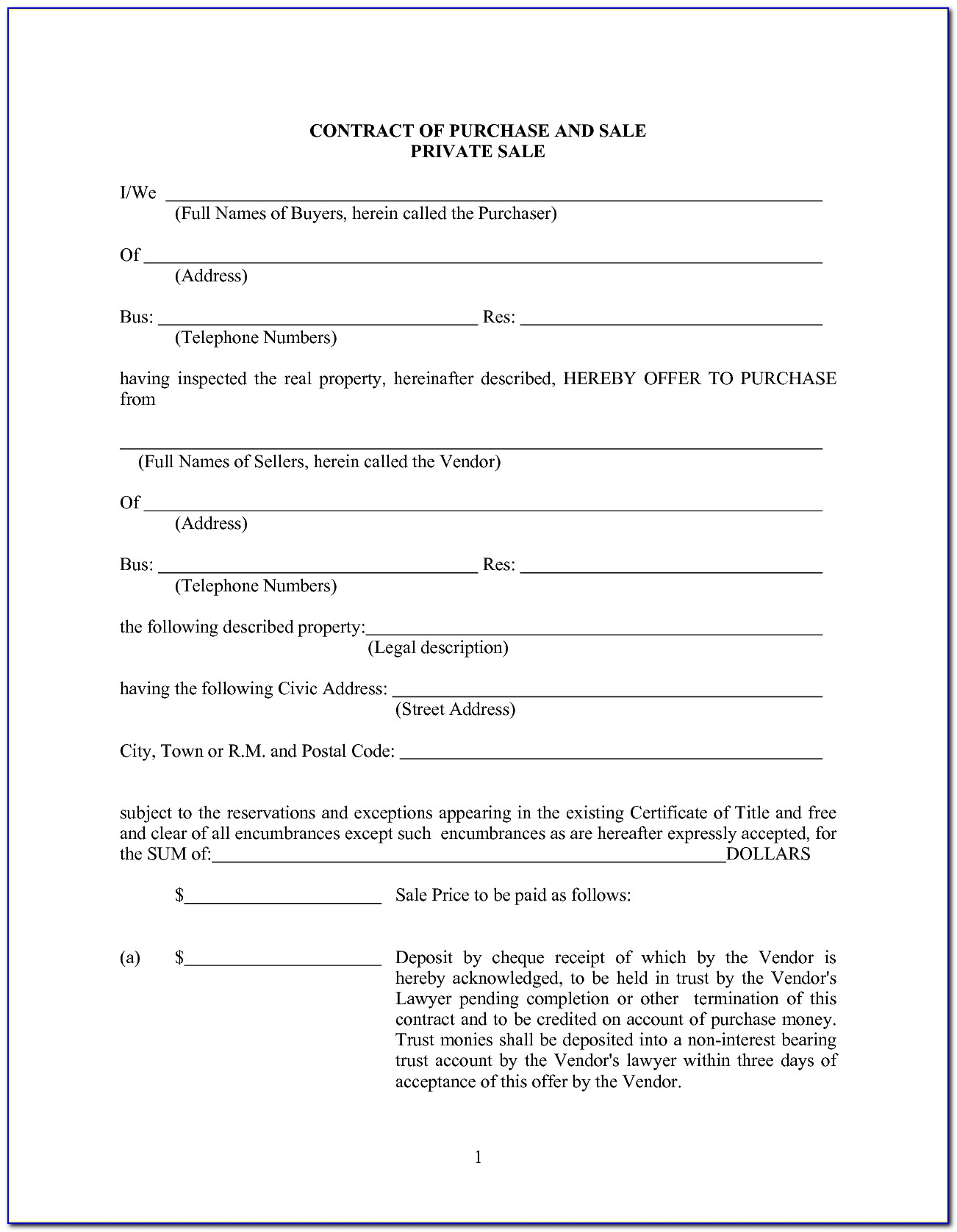 Vehicle Sale Agreement Format In Word   Free Private Auto Sale ...