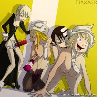 Another hot drunk group sex scene featuring Maka Albarn and Thompson sisters