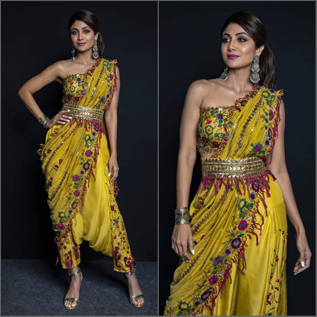 Shilpa Shetty Kundra Diwali Indo western Look