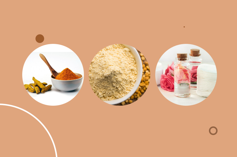 Turmeric Powder, Besan, and Rosewater