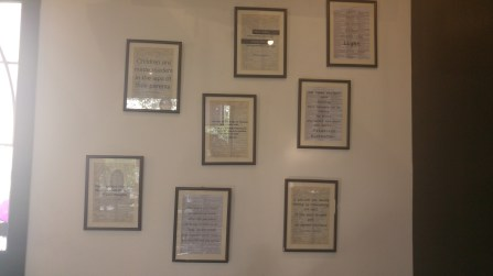 Famous quotes framed onto walls