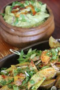 Coriander Spiked Guacamole with Cajun Spiced Baked Wedges