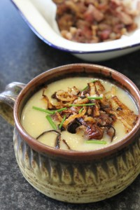 Raosted Cauliflower and Smoked Bacon Soup with Crsipy Onions