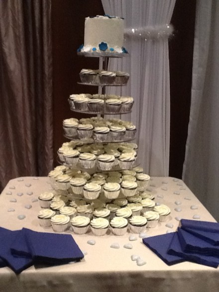 Finished Cake and Cupcakes