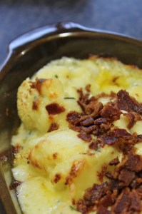Cauliflower and Cheese bake with Bacon Crumb
