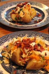 8 hour slow baked potato topped with the works.