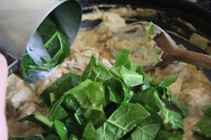 turn off heat, add spinach.