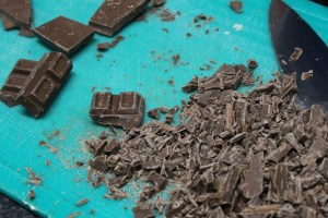 Roughly chop 1 block chocolate.