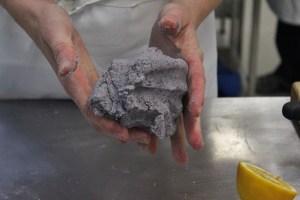 Adding lemon juice to blue corn flour makes the tortillas purple.