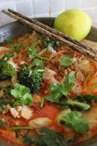 Finish with crispy shallots, coriander and lime wedge.