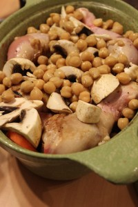 Top browned chicken with remaining chickpeas and mushrooms.