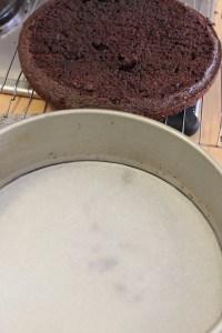 Line cake tin bottom and sides.