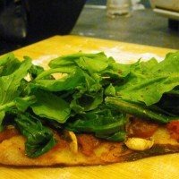 Pizzas that inspire. Rocket, spinach and mushrooms.