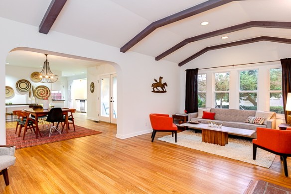 Bright and airy open floor plan with archways