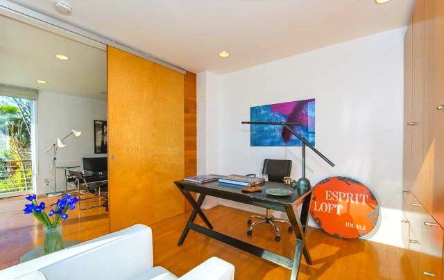 Office with sliding door