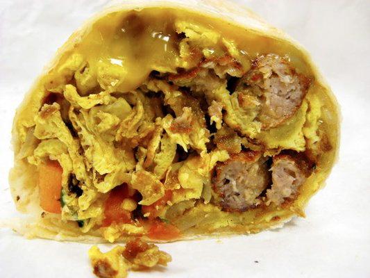 Massive sausage and egg breakfast burrito, $4.25