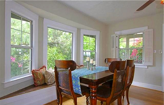 Dining room with built-in bench