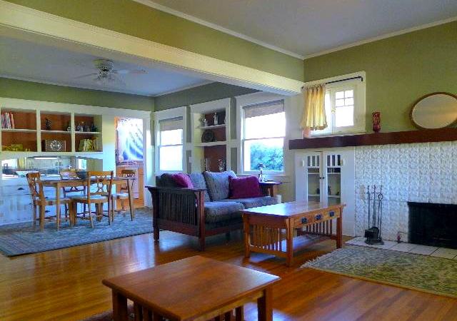 Open floor plan and dining room with built-in sideboard