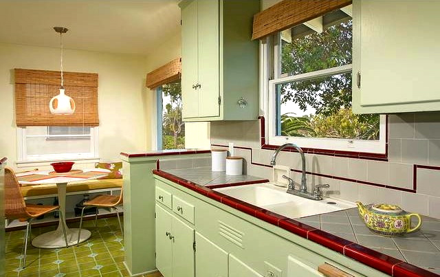 Kitchen with original built-in cabinets