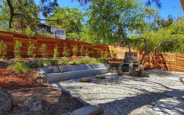 Backyard with fireplace