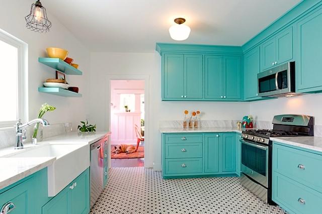 Modern kitchen with hex tile flooring