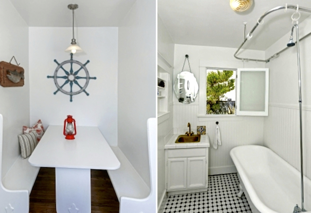 Built-in nook and clawfoot tub