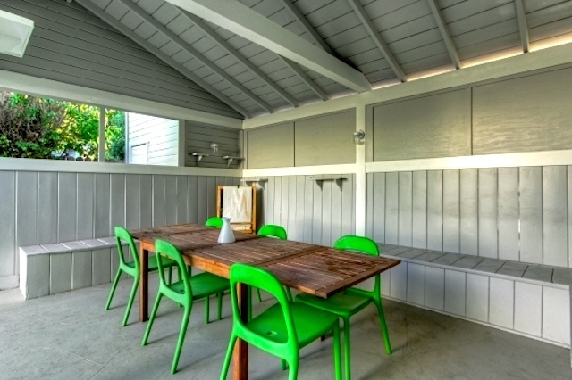 Covered barn-style patio