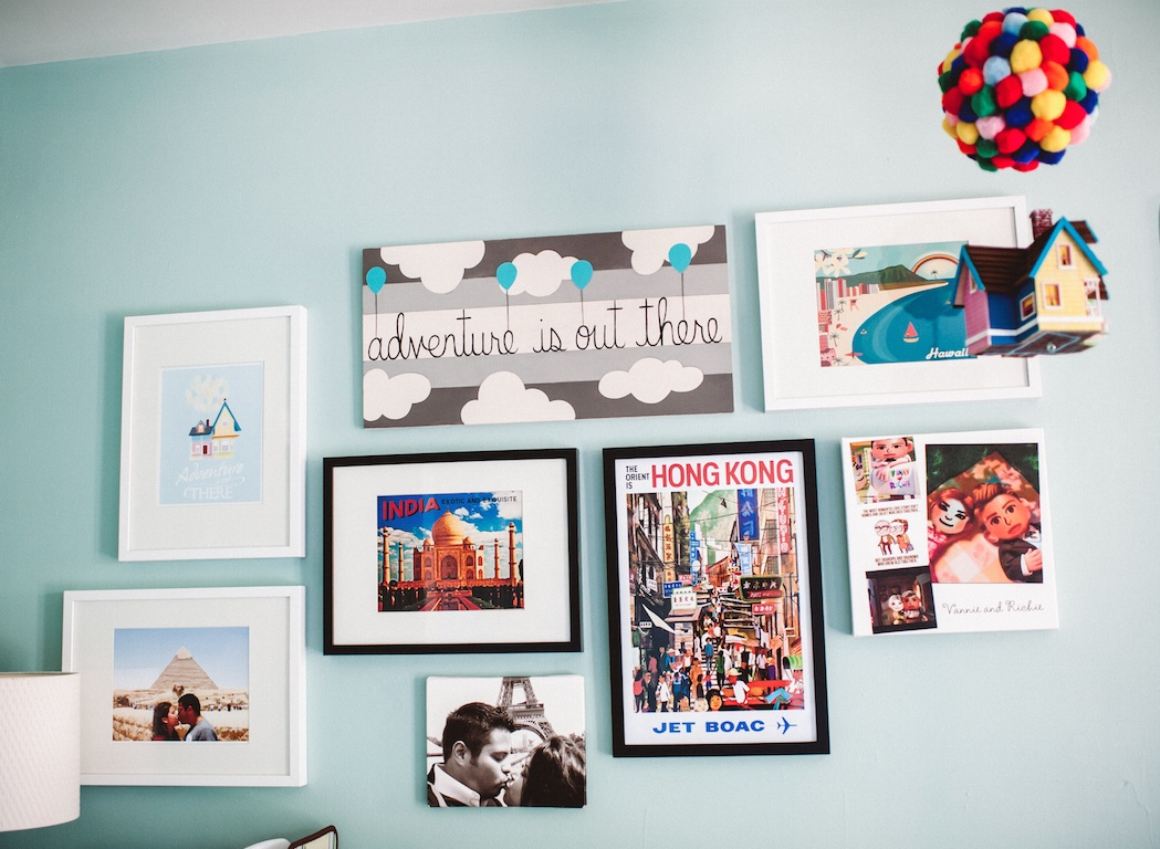 Gallery wall above changing table/dresser