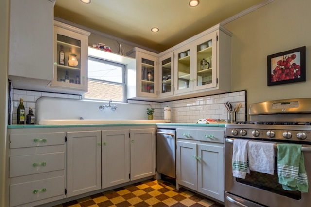 Kitchen with check floors