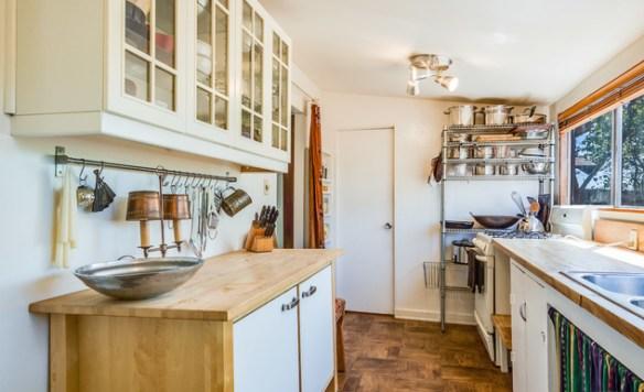Kitchen with parquet wood floor