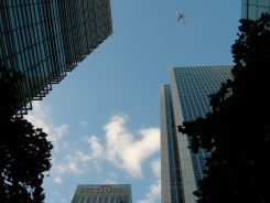 Above Canary Wharf, East London - taken by Sue Ellam, London, UK