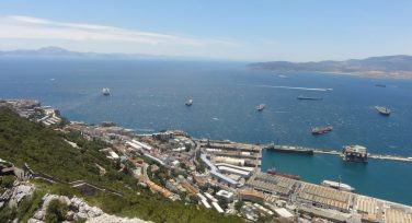 Bay of Gibraltar from the Rock. Algeciras, Spain on the right and North African coast on left. Taken by Peter Thompson.
