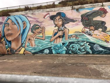 Art on a beach wall at Clacton-on- Sea, Essex. Taken by Peter Thompson.