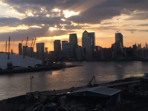 Sunset behind Canary Wharf, London, UK. Taken by Peter Thompson