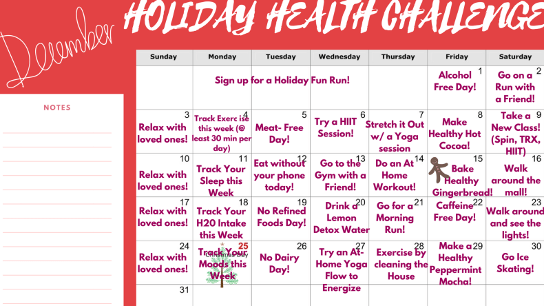 holiday health challenge layout