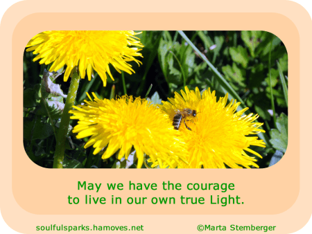 May we have the courage to live in our own true Light.