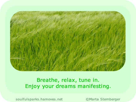 """Breathe, relax, tune in. Enjoy your dreams manifesting."""